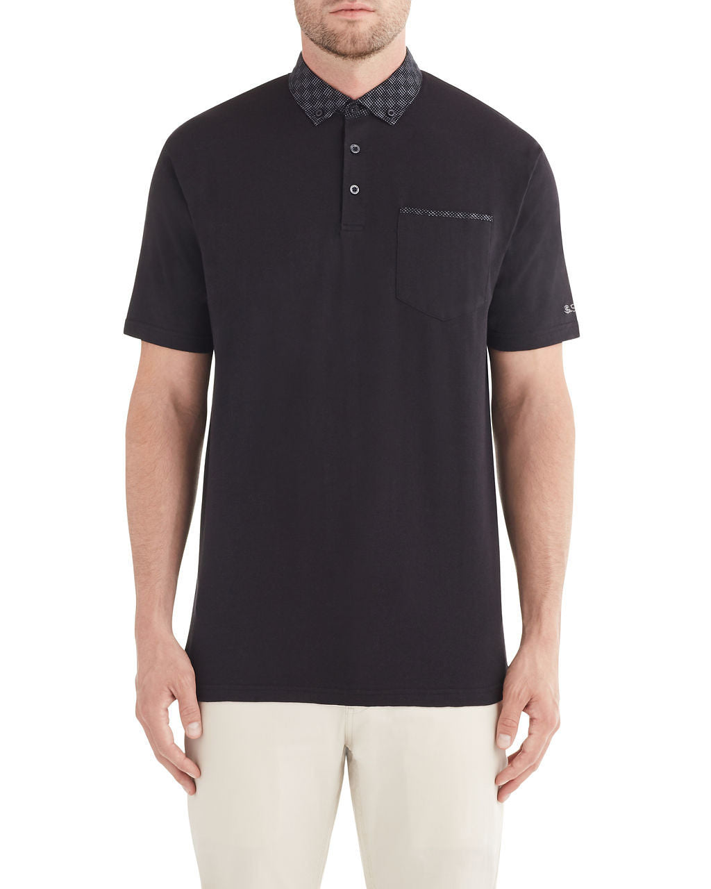Woven Jacquard Collar Polo Shirt - Black
