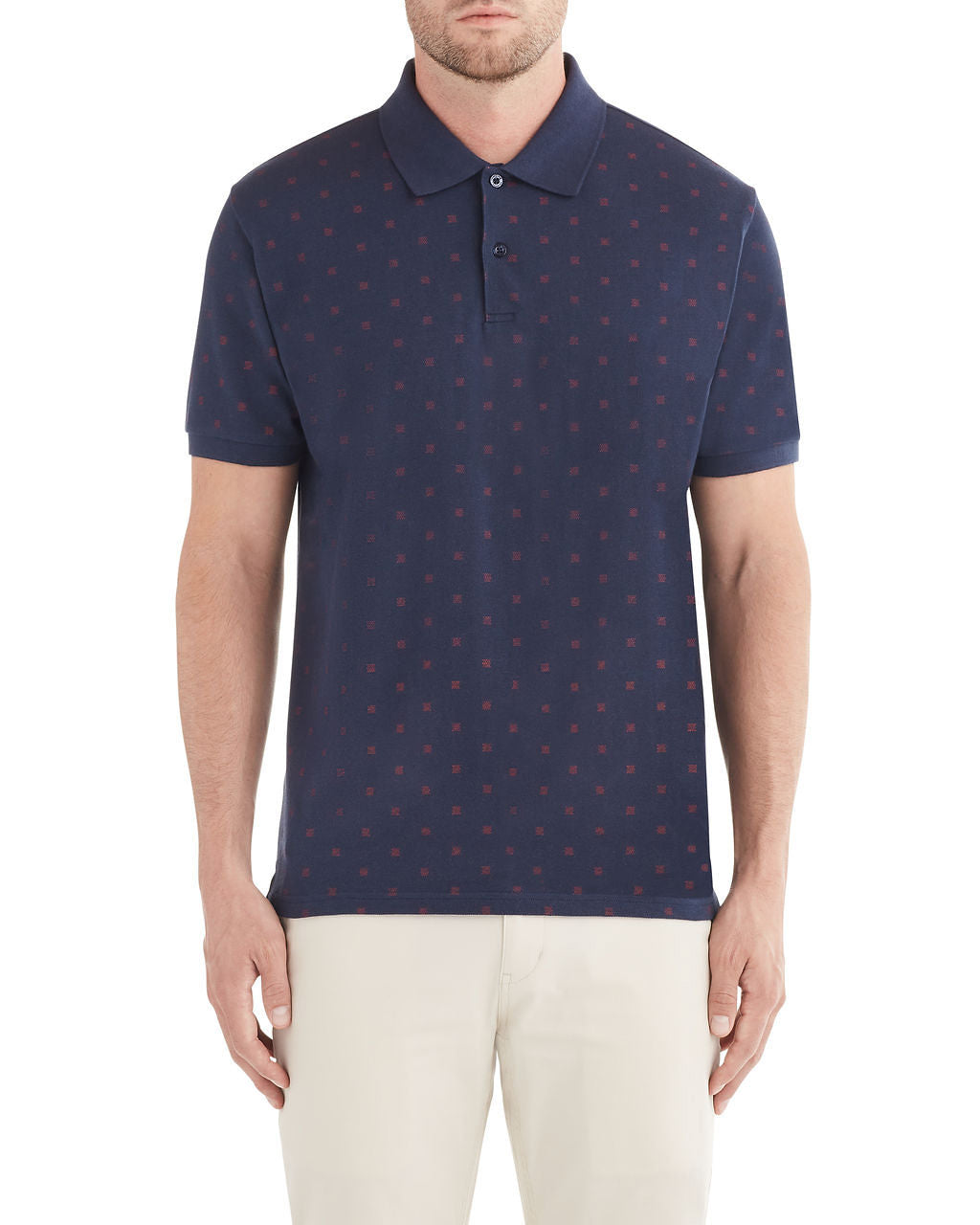 Spot Squares Print Polo Shirt - Dark Navy