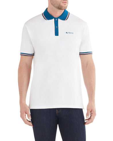 Birdseye Placket Polo Shirt - White