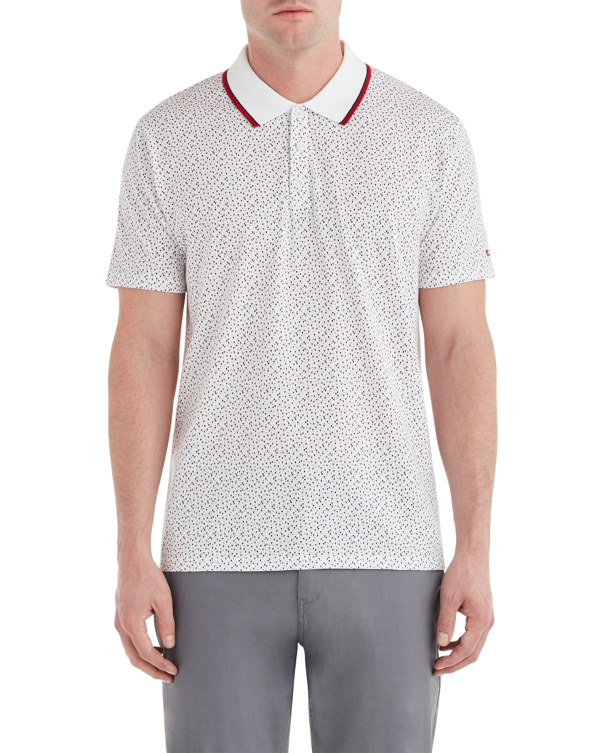 Conversational Print Polo Shirt - White