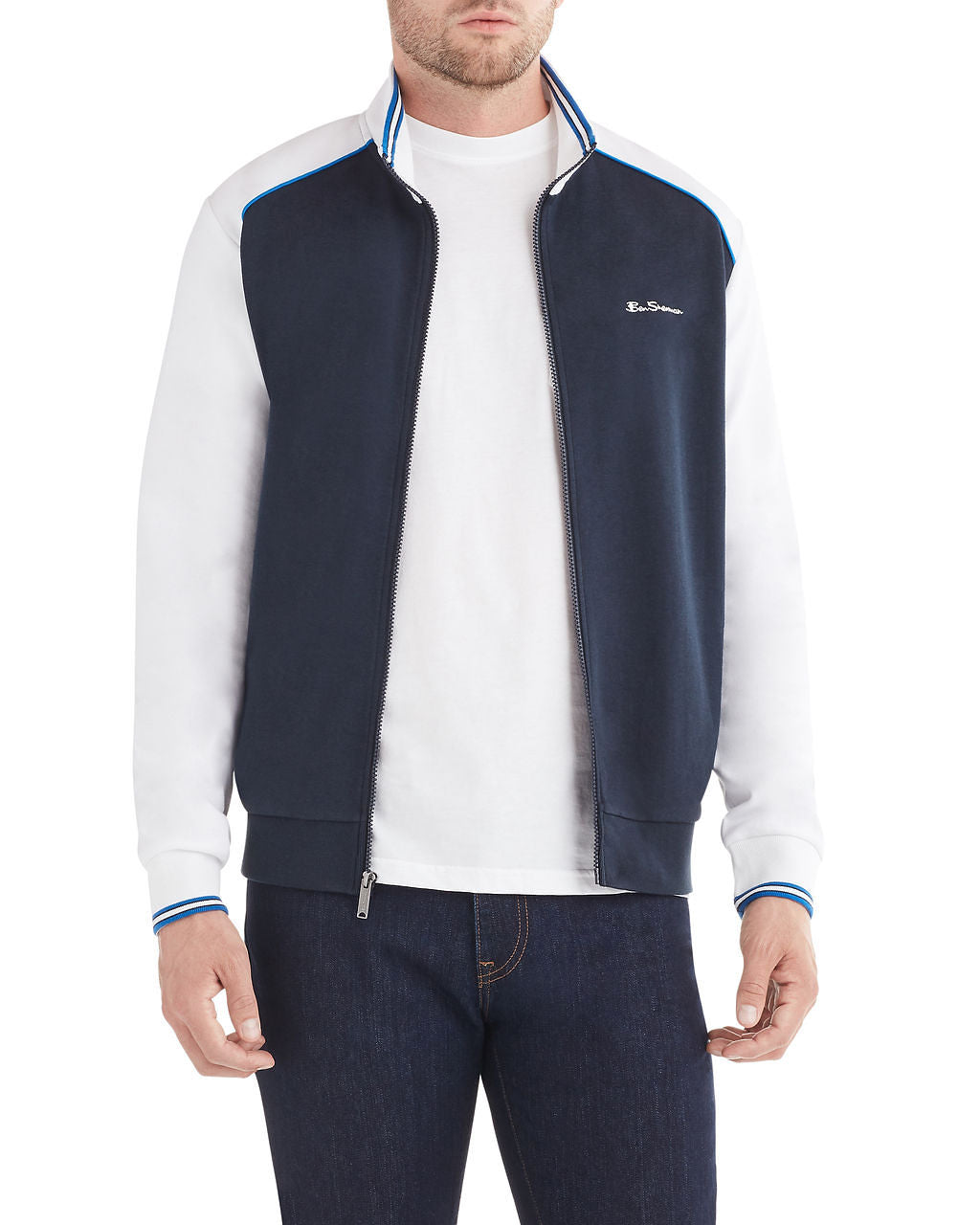 Color Block Track Jacket - White