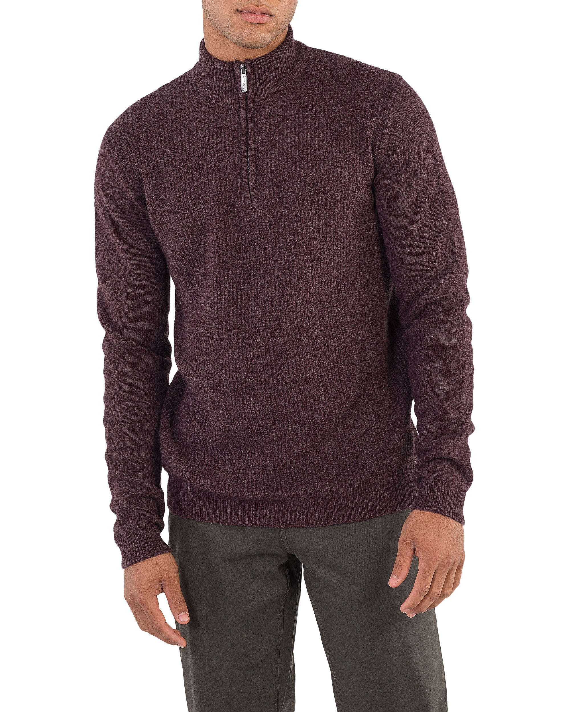 Quarter-Zip Funnel Neck Sweater -Dark Red
