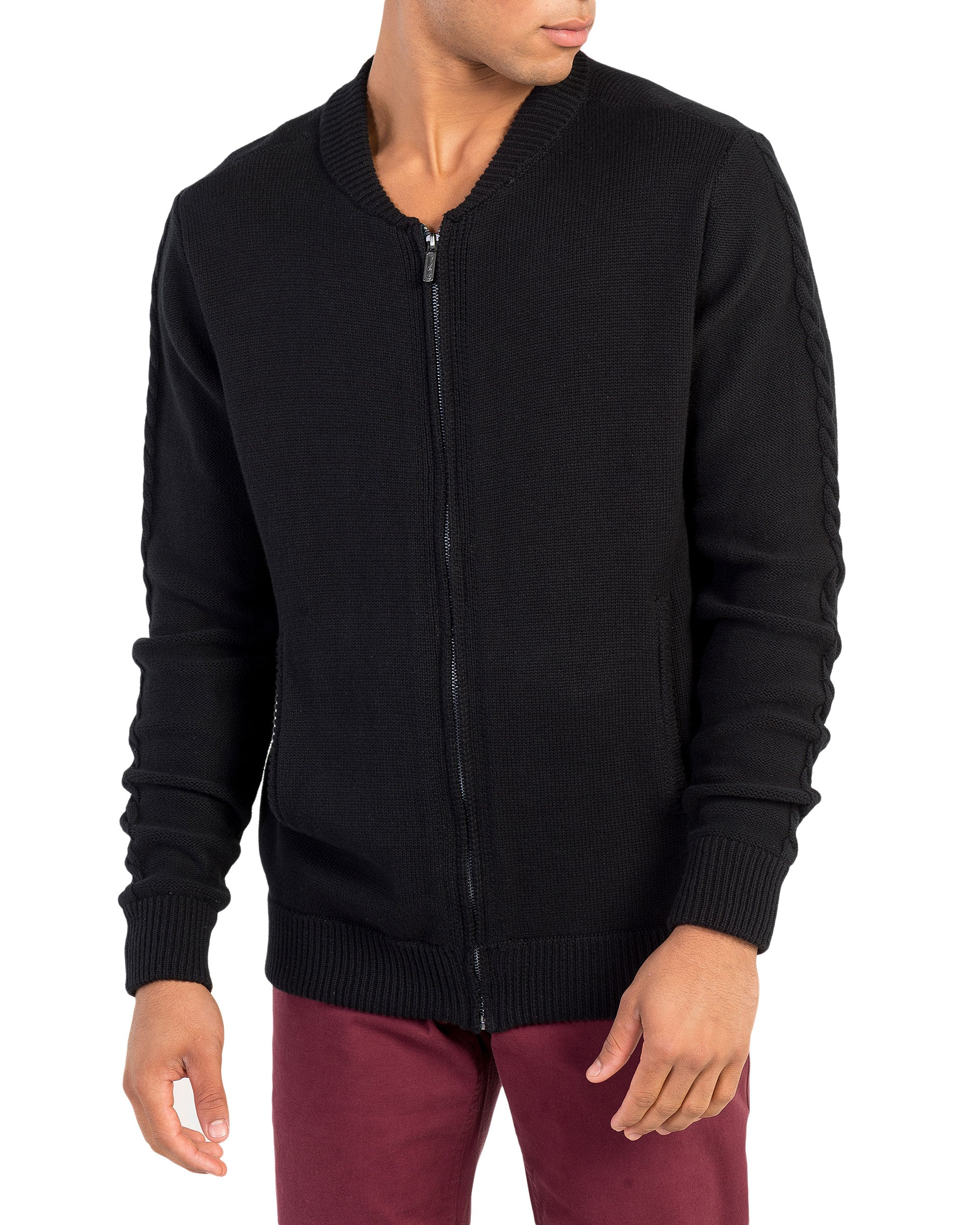 Cable Sleeve Bomber Sweater - Black