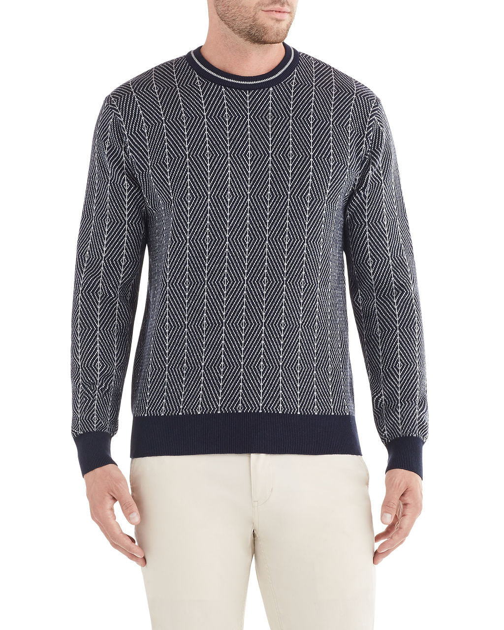 Diamond Jacquard Crewneck Sweater - Dark Navy