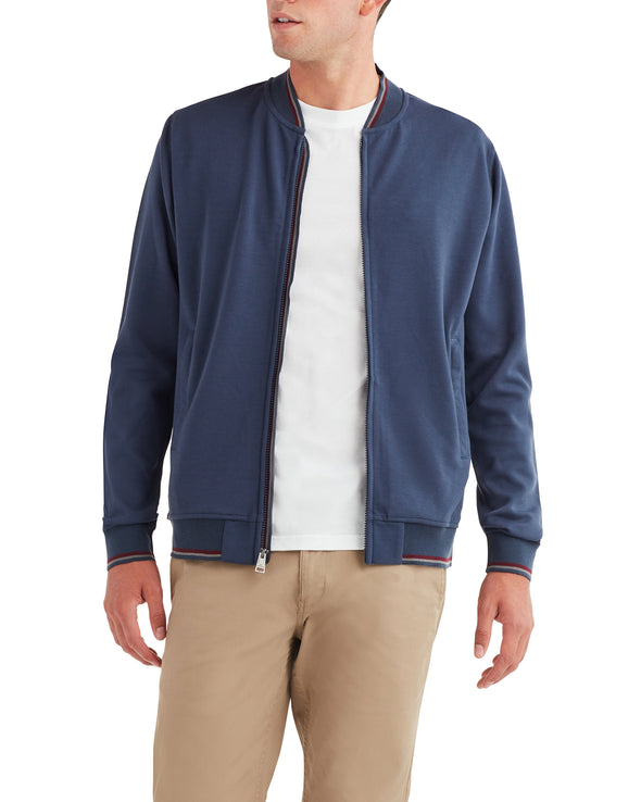 Tipped Scuba Bomber Jacket - Navy