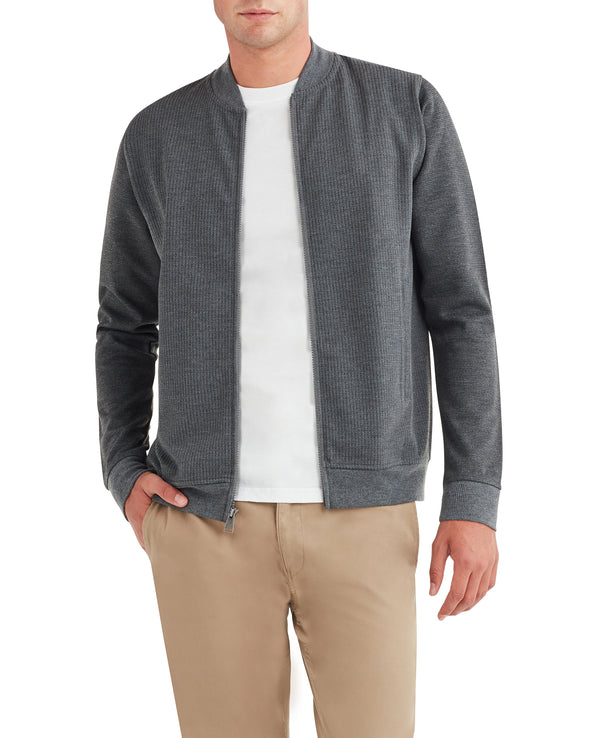 Herringbone Jaq Knit Bomber Jacket - Grey
