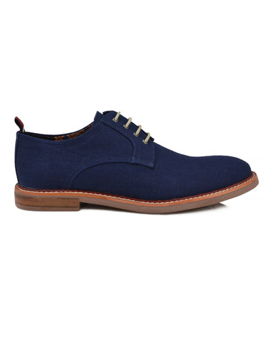 Birk Linen Plain-Toe Derby - Navy Linen