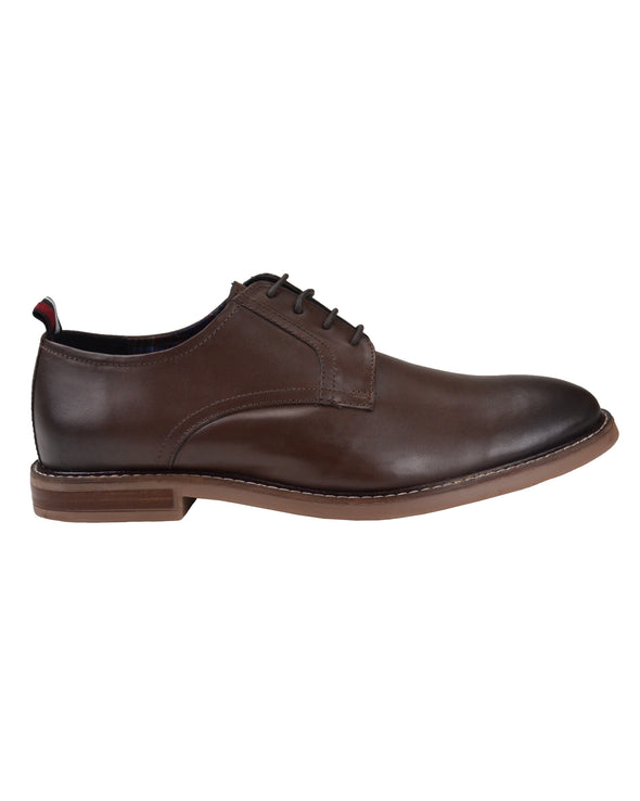Brent Plain-Toe Leather Derby Shoe - Dark Brown