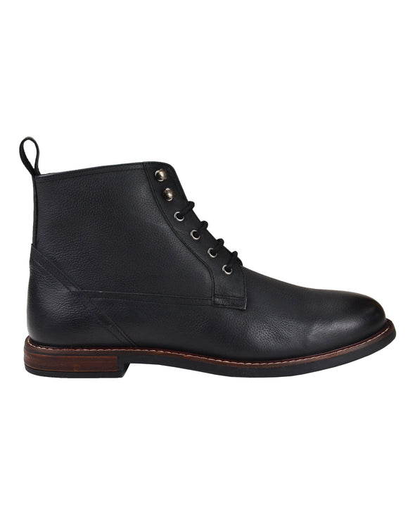 Brent Leather Plain-Toe Boot - Black