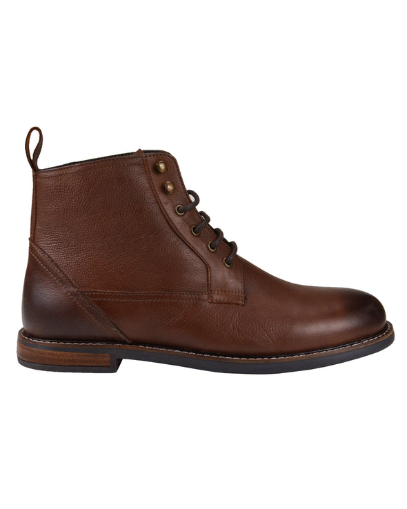 Brent Leather Plain-Toe Boot - Dark Brown