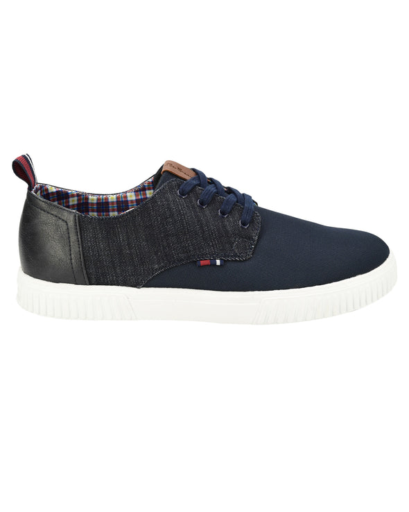 Marcus Mixed-Media Sneaker - Navy