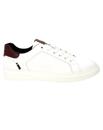 Ollie Vegan Leather Trainer - White/Red