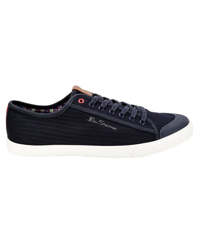 Eddie Script Cotton Lace-Up Sneaker - Navy