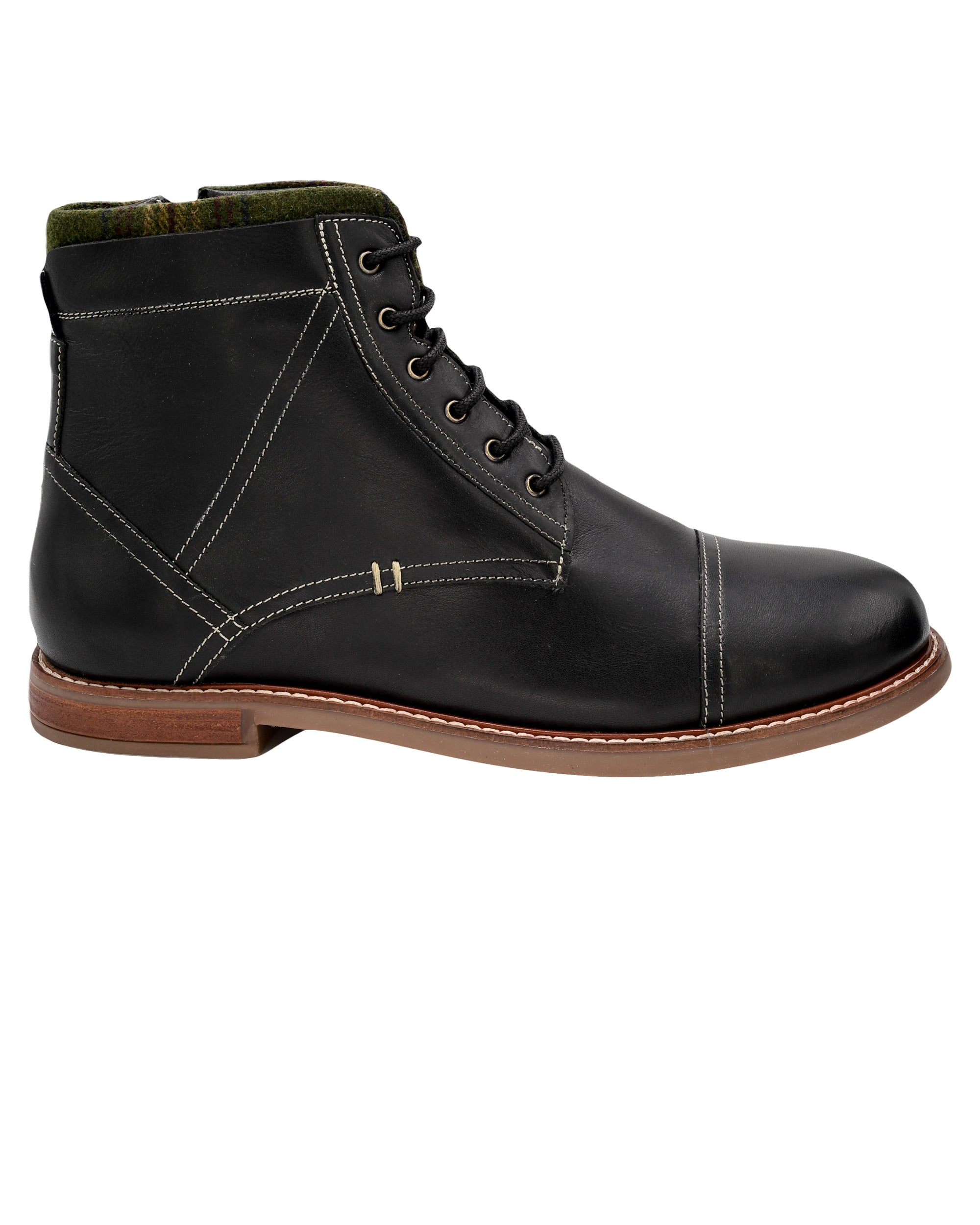 Leon Cap-Toe Lace-Up Boot - Black