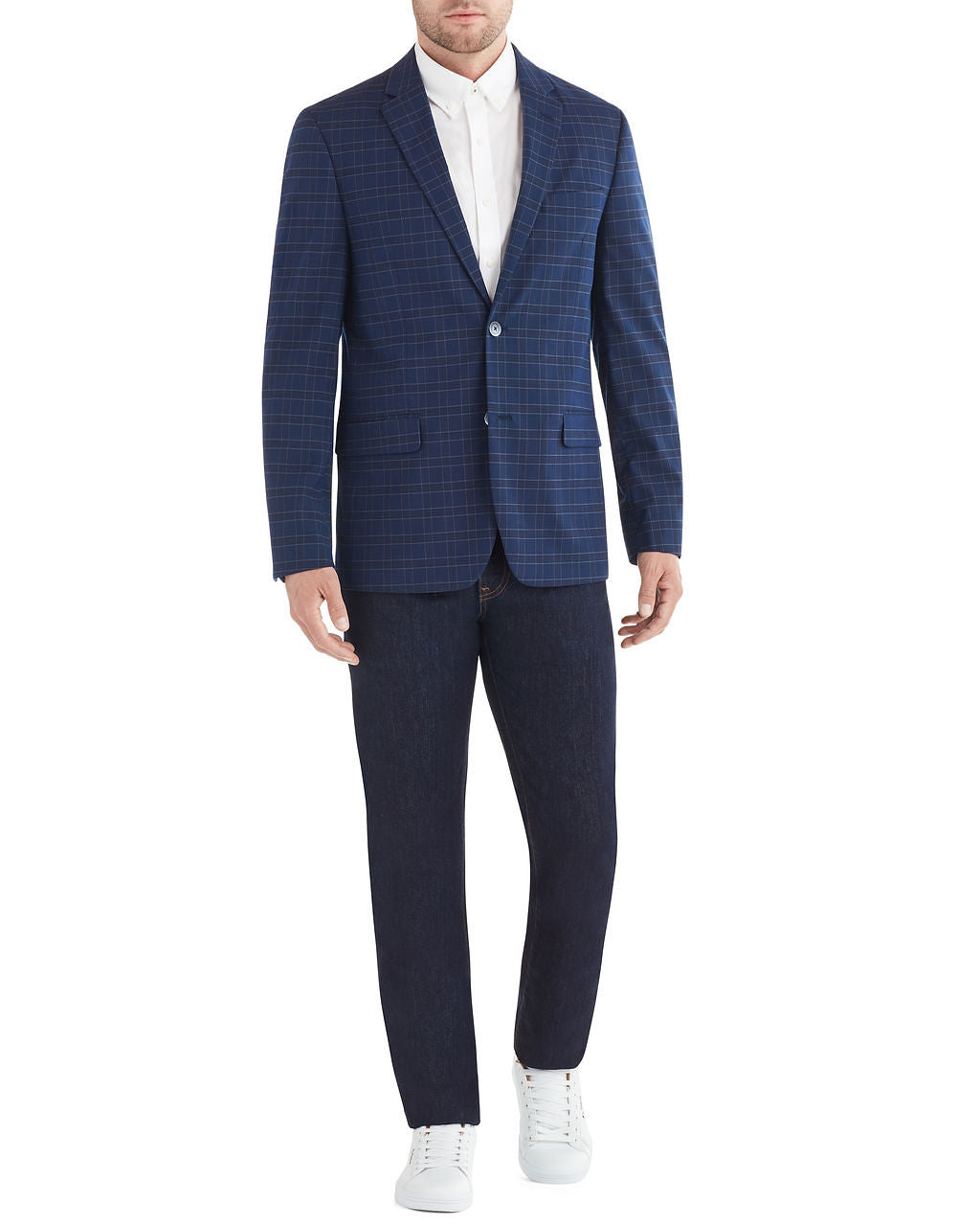 Crown Plaid Check Sportcoat Jacket - Navy