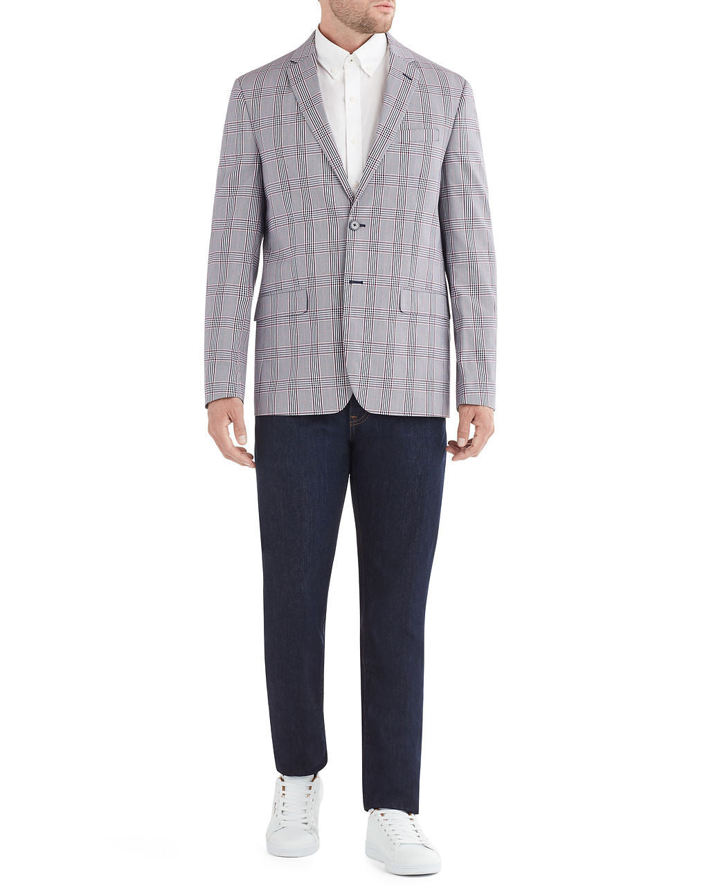 Crown Plaid Check Sportcoat Jacket - Blue and White