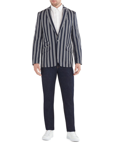Webber Striped Sportcoat Jacket - Navy