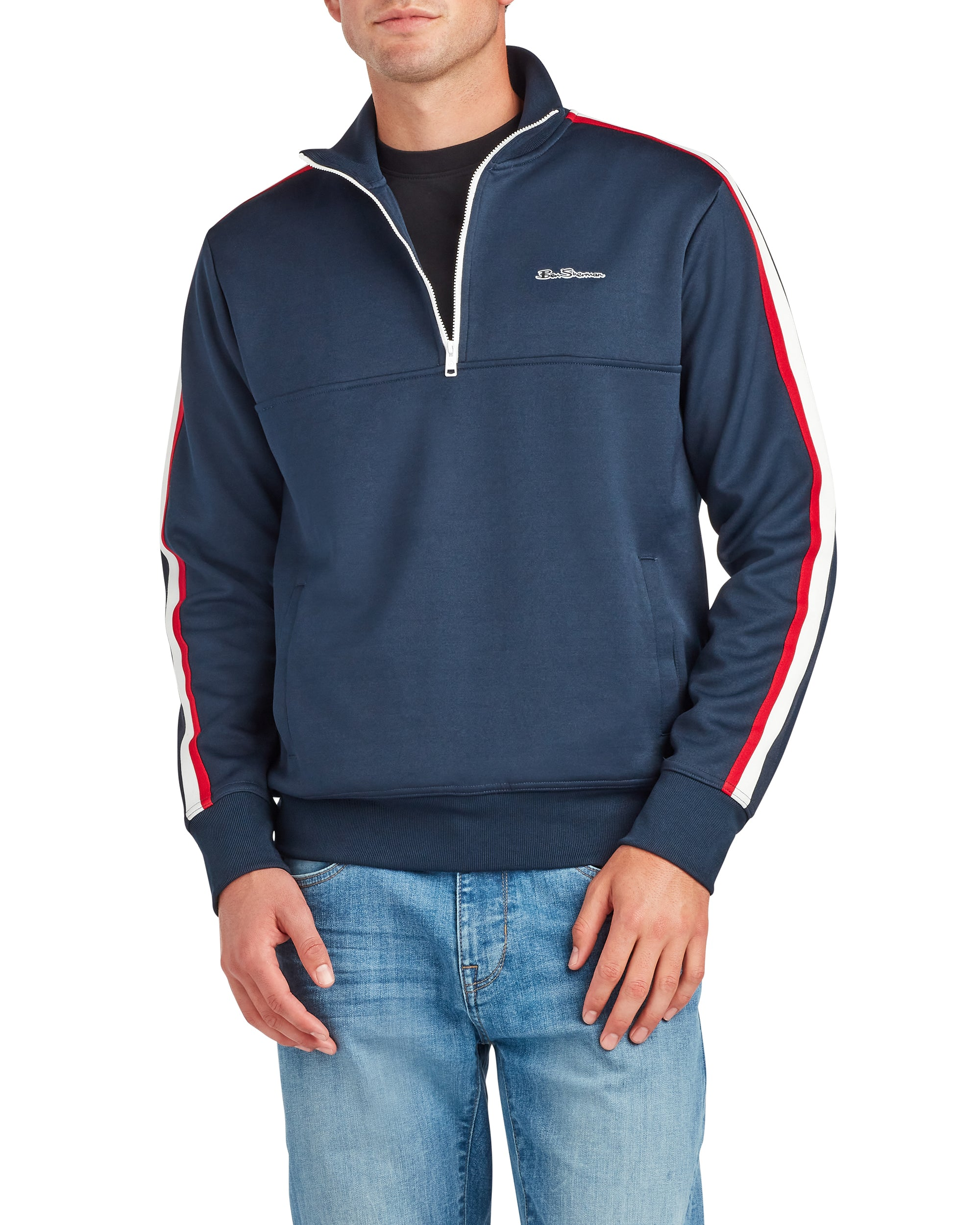 Mod Tape Tricot Quarter-Zip Pullover  - Navy