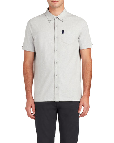 Short-Sleeve Supima Button-Down Shirt - Heather Grey