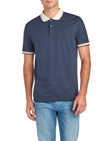 Short-Sleeve Contrast Collar Supima Polo Shirt - Navy Blazer