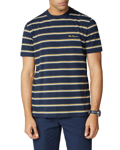 Short-Sleeve Basic Striped Tee - Navy