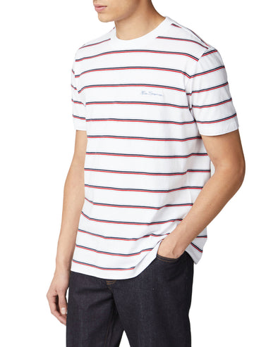 Short-Sleeve Basic Striped Tee - White