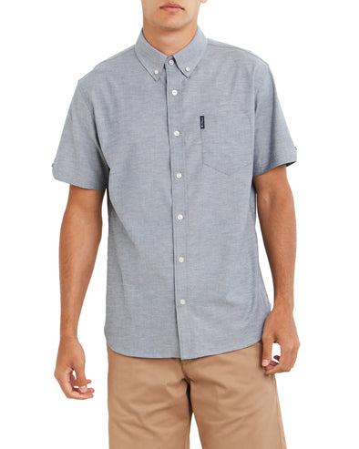 Short-Sleeve Solid Oxford Shirt - Navy