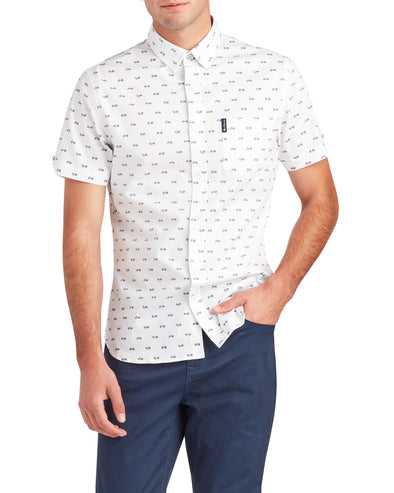 Short-Sleeve Bicycle Print Shirt - White