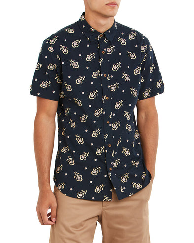 Short-Sleeve Floral Print Shirt - Navy