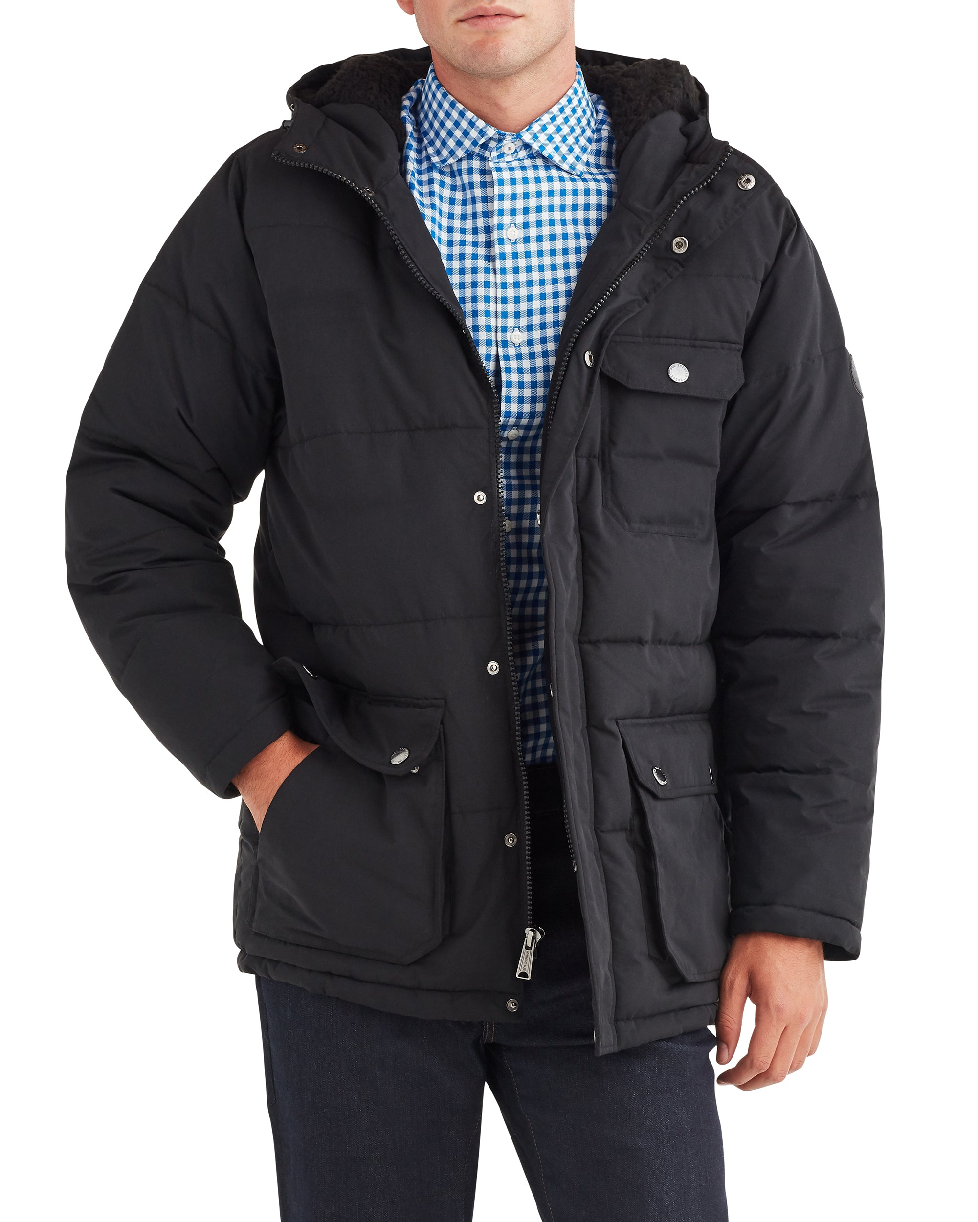 Men's Puffer Jacket with Sherpa-Lined Hood - Black
