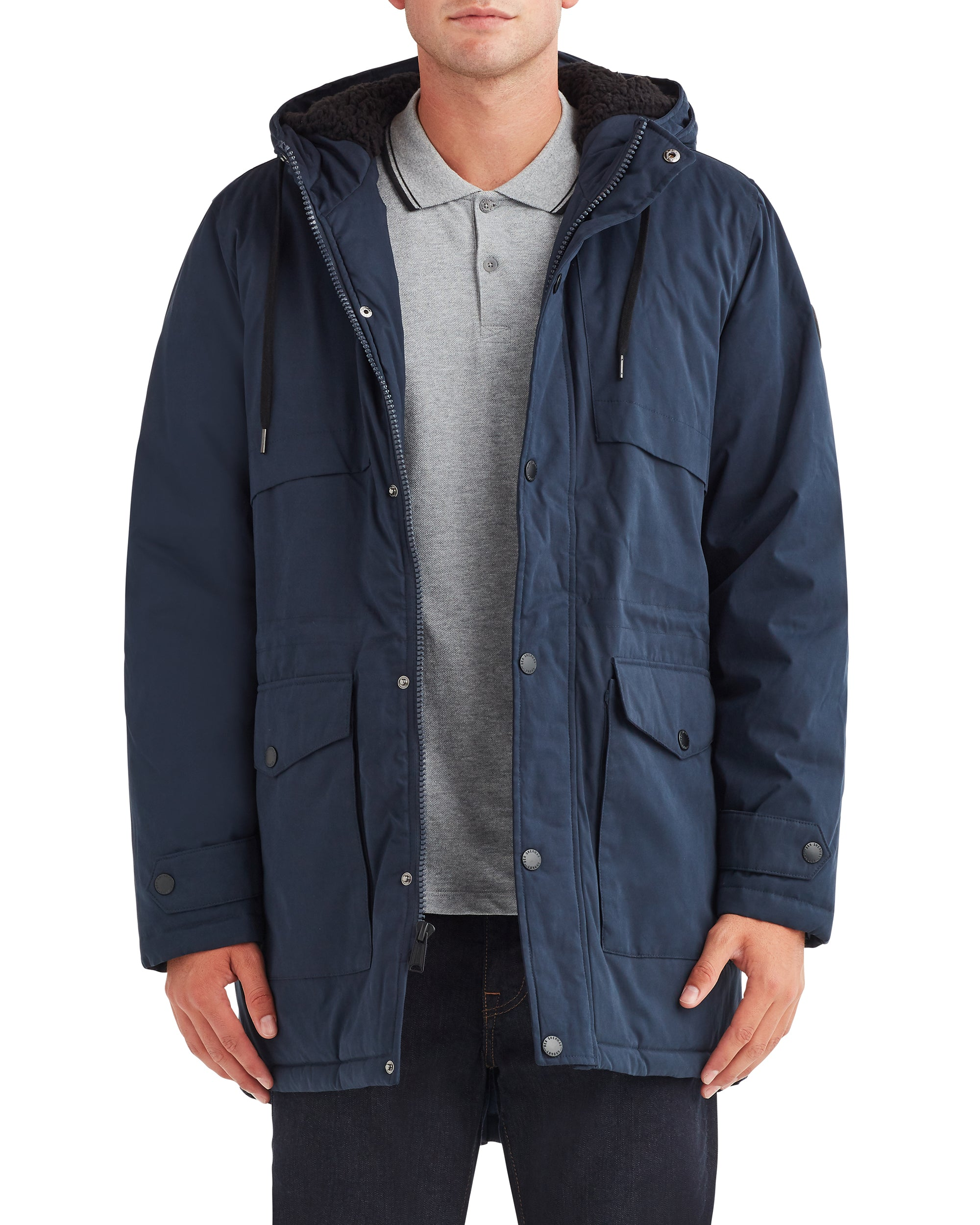 Men's Long Fashion Parka  - Navy Blazer