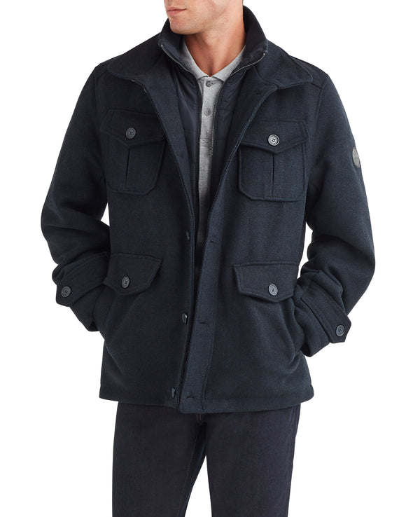 Men's Quilted Bib Wool Coat - Black Heather