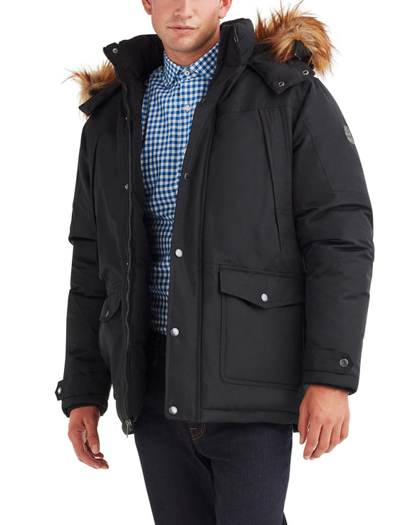 Men's Parka with Faux-Fur Hood - Black