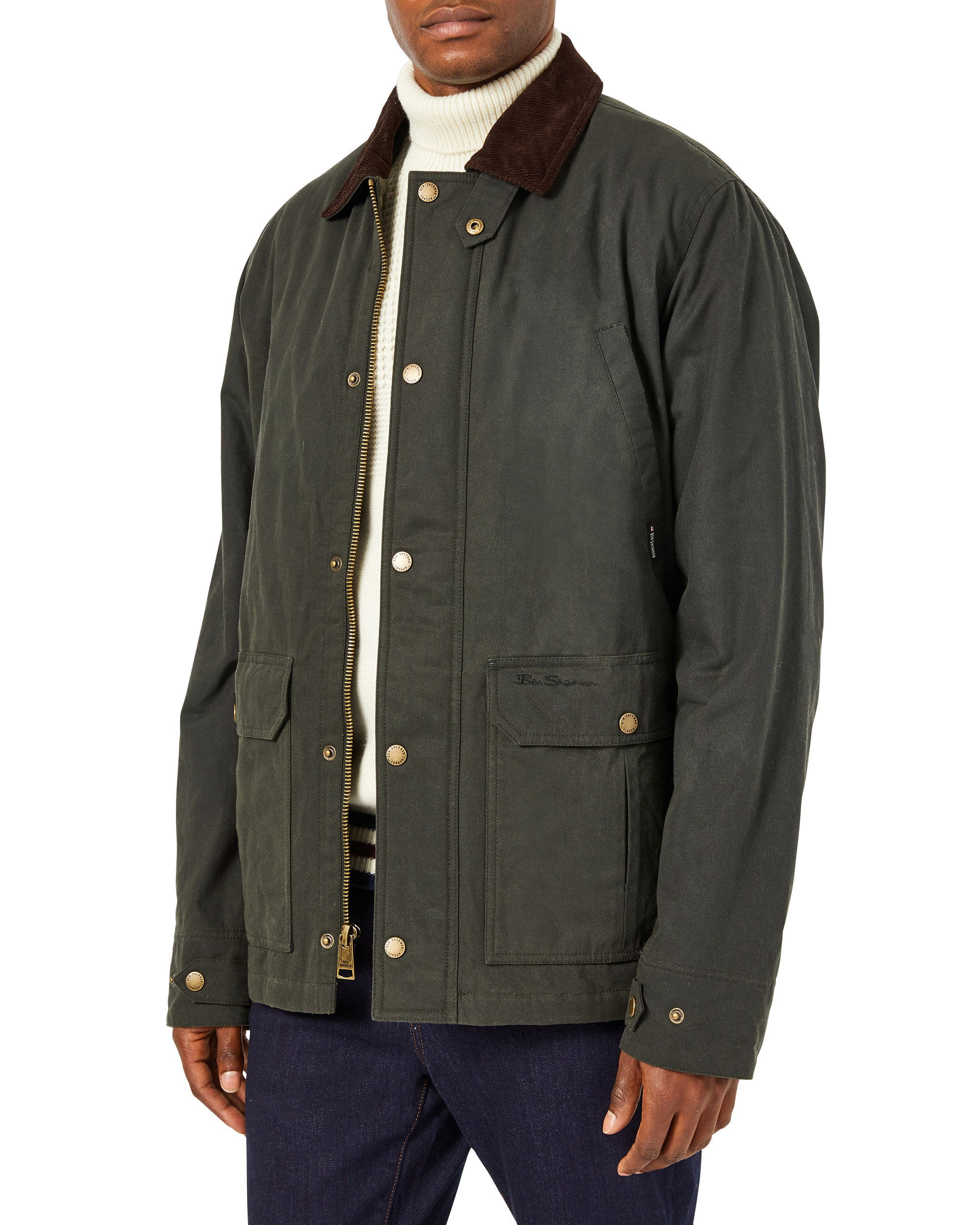 Men's Coated Cotton Jacket with 2 oz. Fill - Loden
