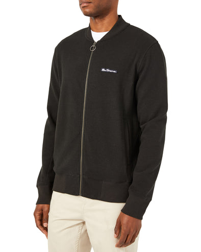 Full-Zip Textured Knit Jacket with Pocket - Black