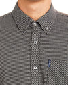 Long-Sleeve Gingham Jacquard Shirt - Black
