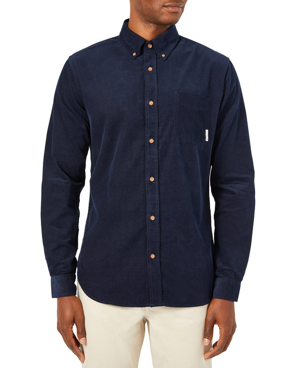 Long-Sleeve Corduroy Button-Down Shirt - Navy Blazer