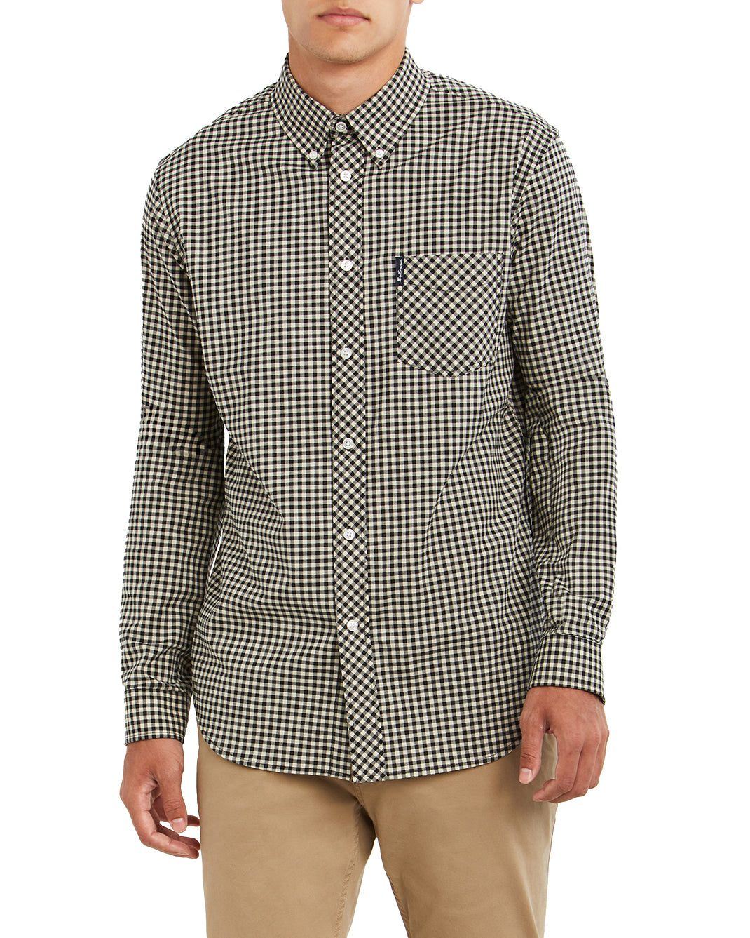 Long-Sleeve Gingham Shirt - Black