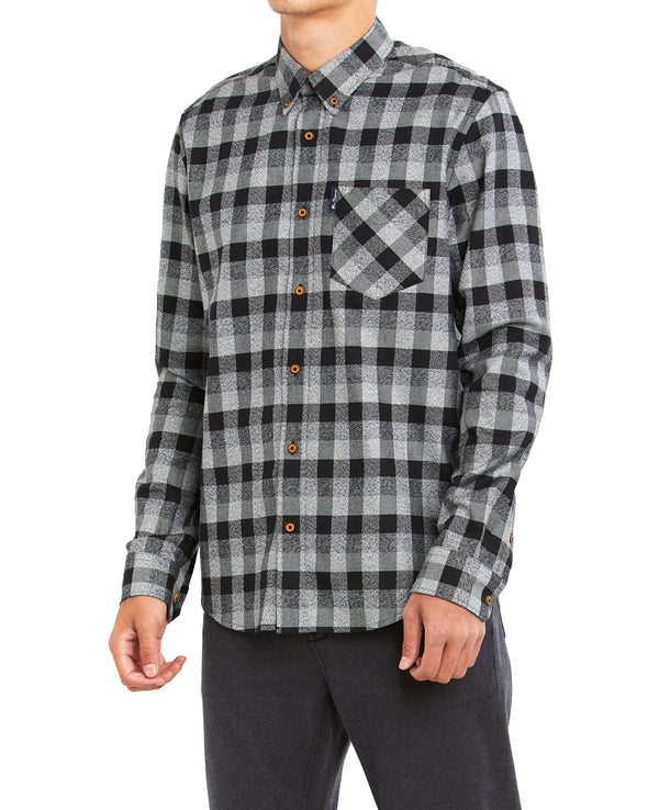 Long-Sleeve Plaid Shirt - Black