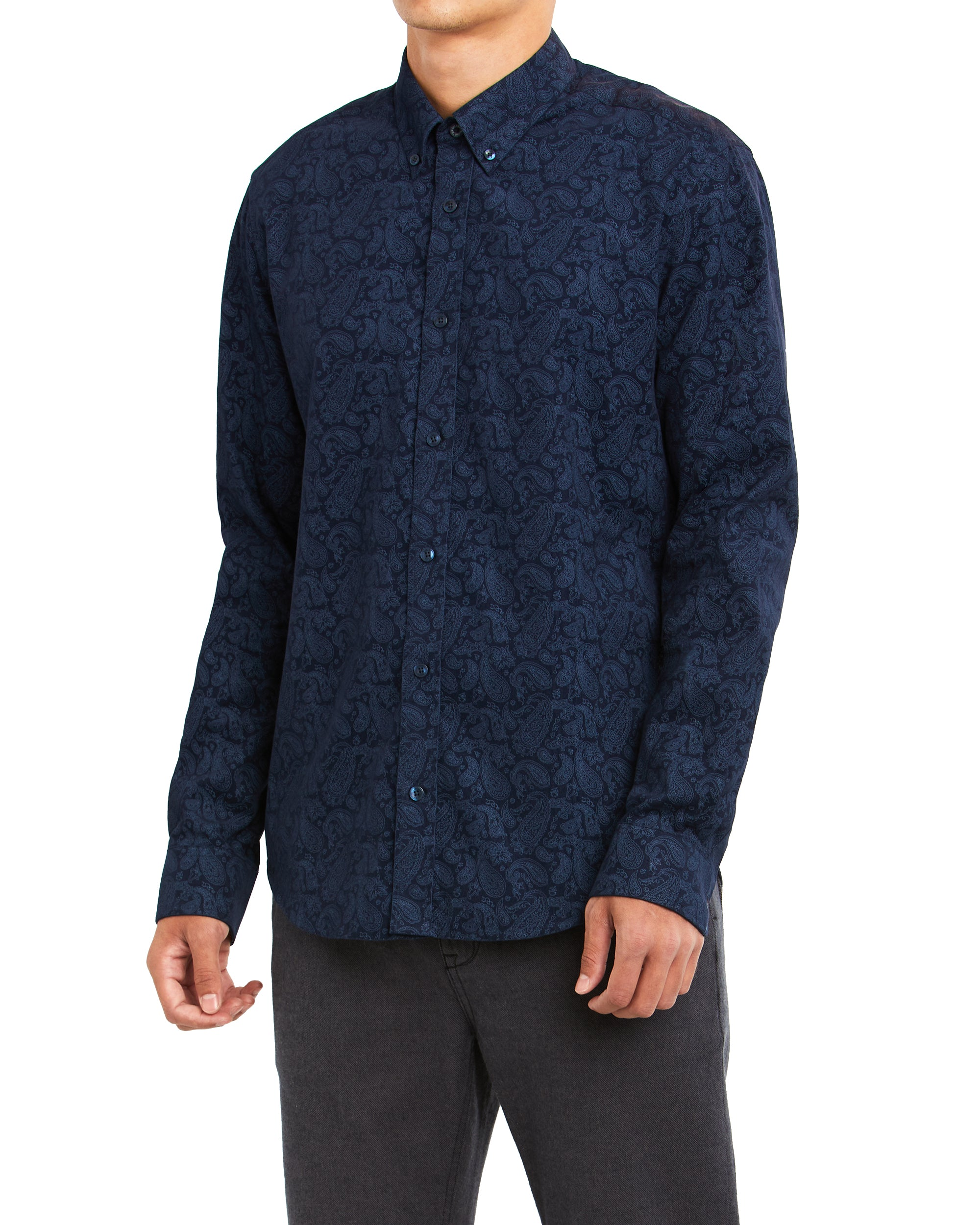 Long-Sleeve Paisley Shirt - Navy Blazer