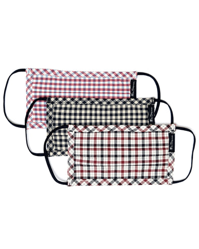 3-Pack Reusable Cotton Face Masks - House Check/Red Gingham/Blue Gingham
