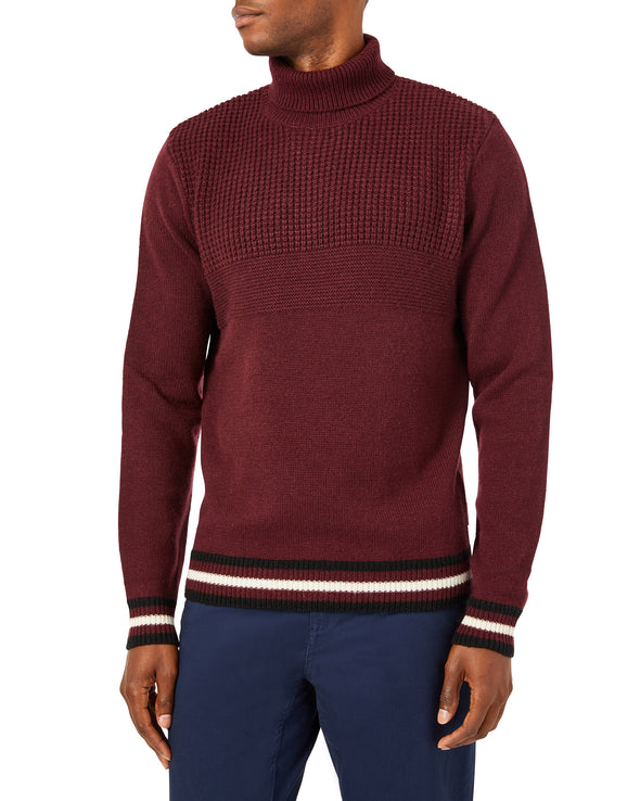 Textured Knit Turtleneck Sweater - Port Royal