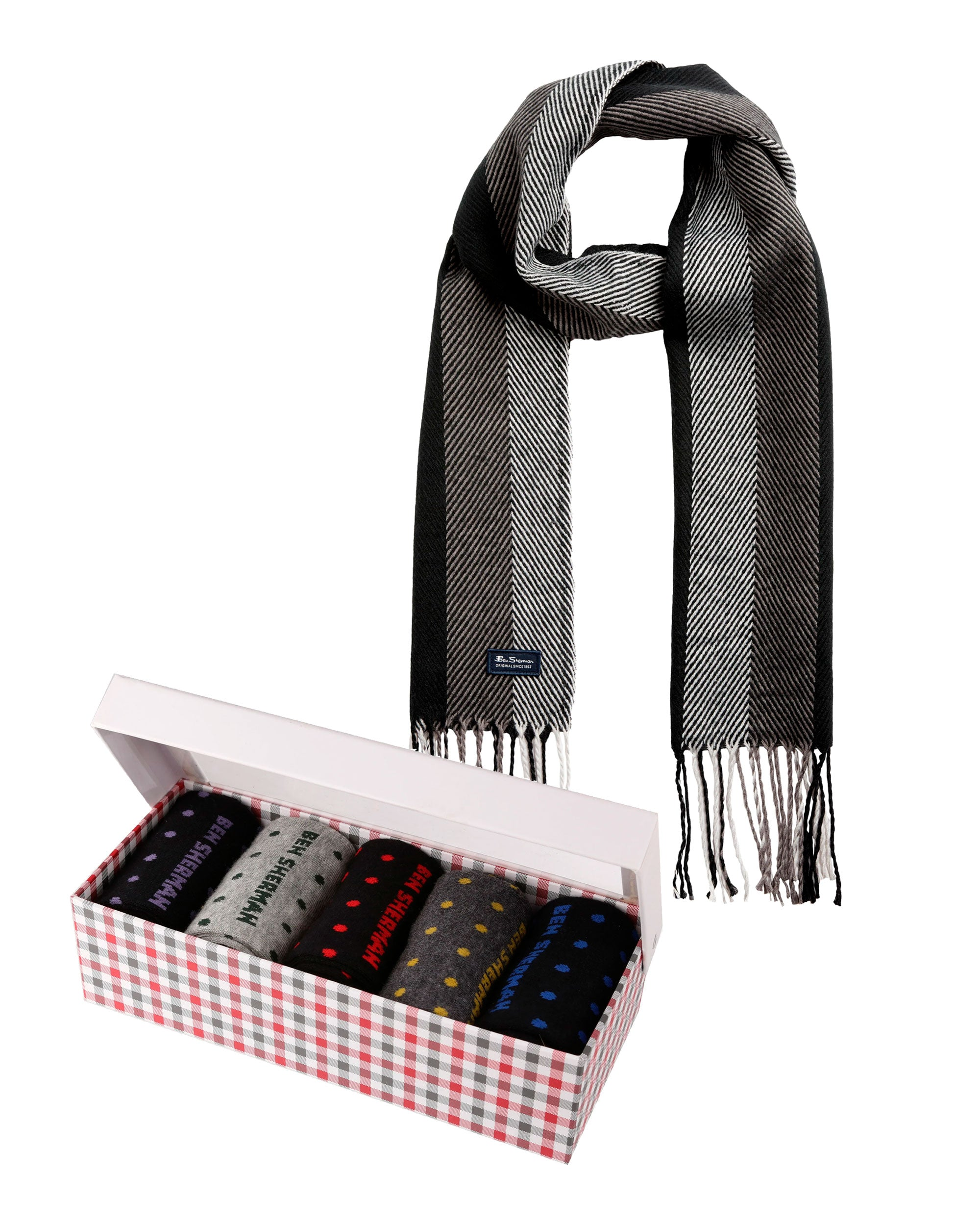 Gift with Purchase: Men's Socks (5-Pack) & Scarf Set - Colors May Vary