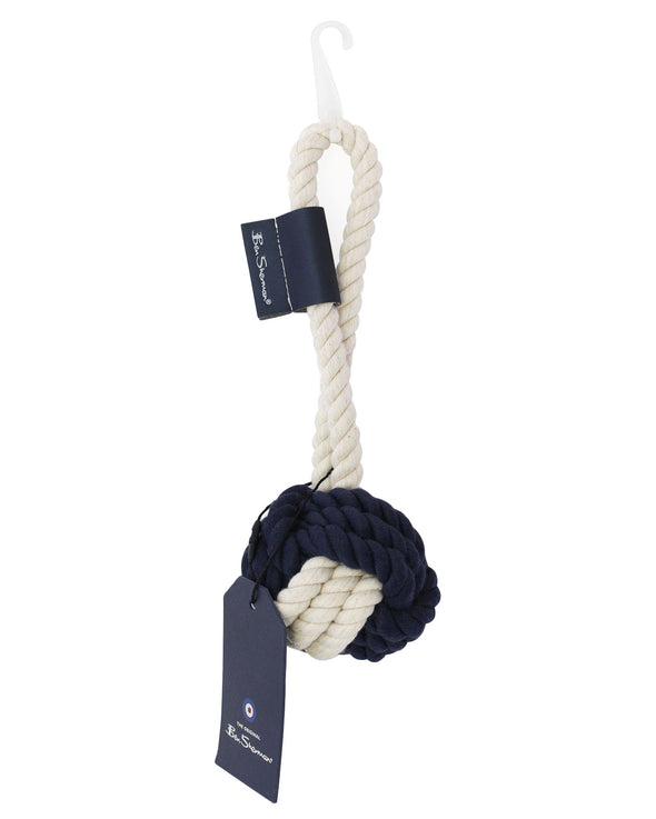 Medium Rope Ball with Loop Dog Toy - Navy & Cream