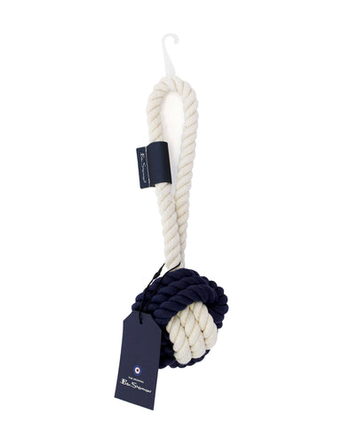 Large Rope Ball with Loop Dog Toy - Navy & Cream