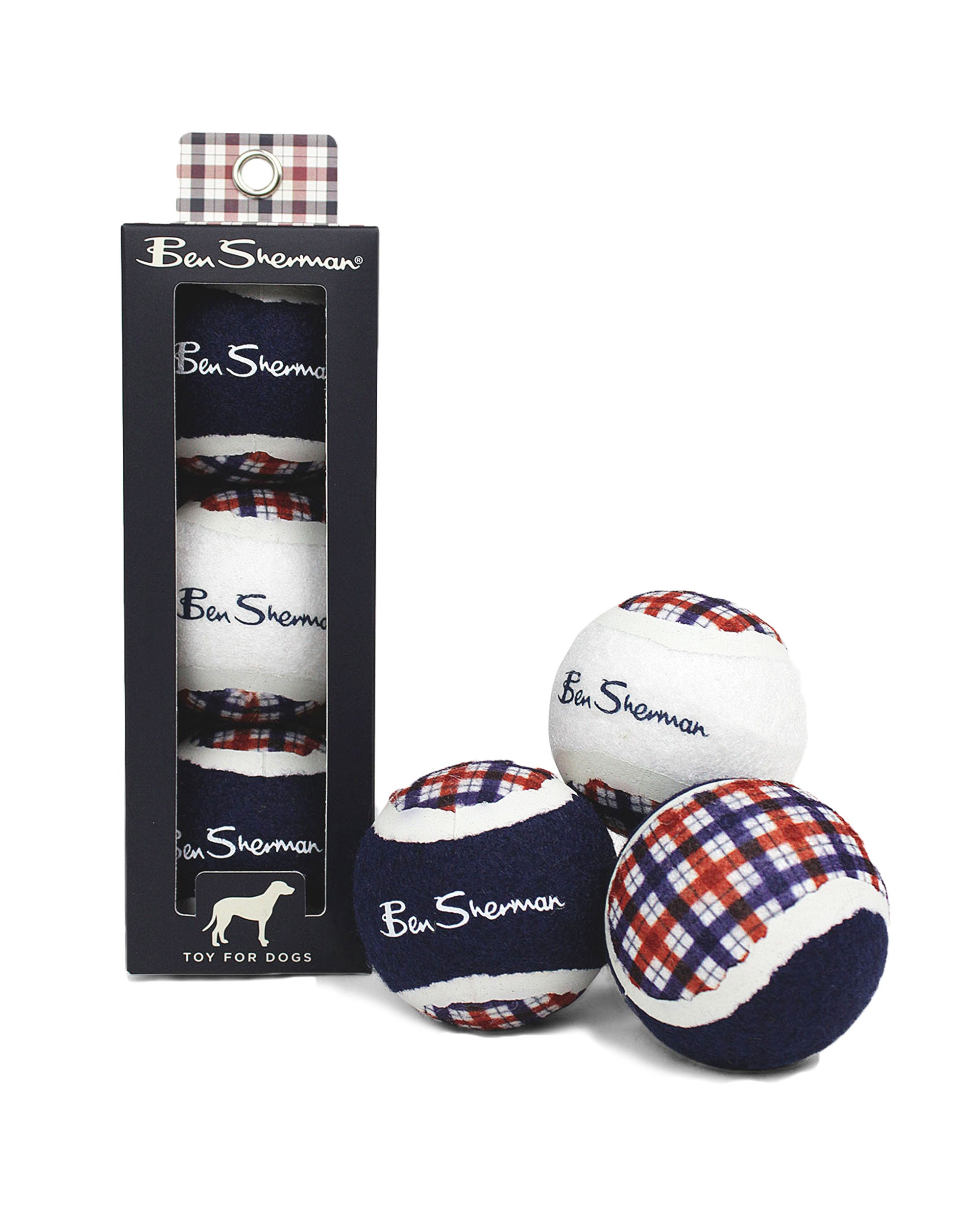 3-Pack Check Tennis Ball Dog Toys - Navy, White, Red