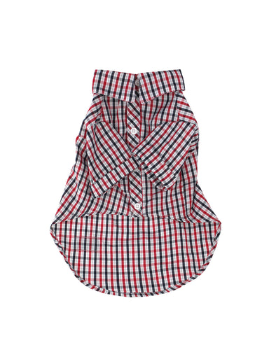 Short-Sleeve Dog Button-Up Shirt - Red Check