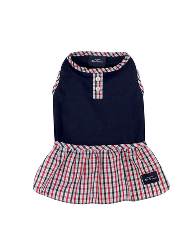 Check Dog Dress - Navy