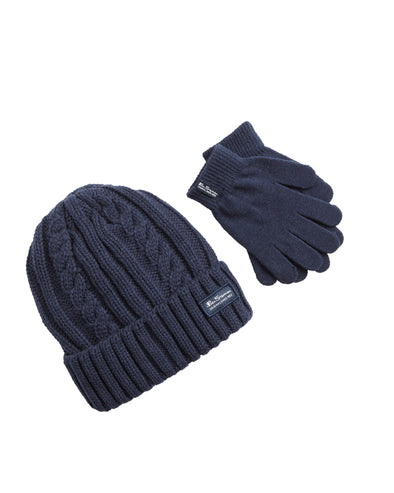 Kids' Cable Knit Hat & Gloves Set - Navy