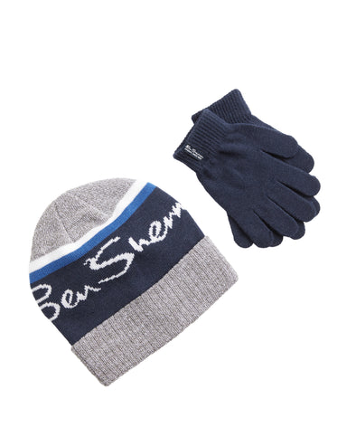 Kids' Jacquard Logo Hat & Gloves Set - Grey with Blue Stripe & White